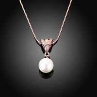 White Pearl Drop Gold Necklace