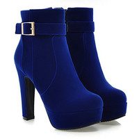 Blue Chunky Heel Suede Short Boots With Buckle Design
