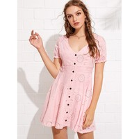Eyelet Embroidered Frill Detail Button Dress