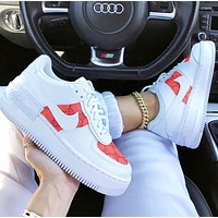 "Nike X GUCCI Nike WMNS Air Force 1 Shadow""TropicalTwist Sneakers White pink print"