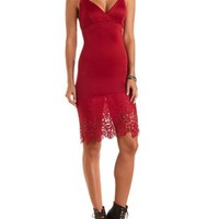 Wine Bodycon Midi Dress with Lace Hem by Charlotte Russe