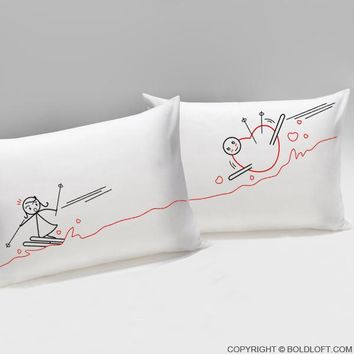 Fallen for You™ Couple Pillowcases, Valentines Day Gifts, Gifts for Him, Gifts for Her, Boyfriend and Girlfriend Gift, Husband and Wife Gift, Fiance Gift, Couples Gift
