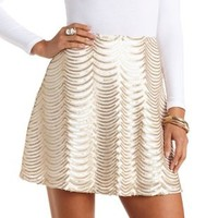 Scalloped Sequin Skater Skirt by Charlotte Russe - Gold Combo