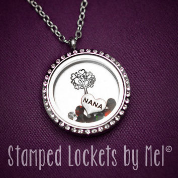 Nana's Family Tree - Grandmother's Necklaces - Hand Stamped Stainless Steel Locket - Grandkid's Birthstones - Personalized Jewelry - Nana