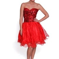 Beautifly Women's Beautiful Red Organza Sweetheart Valentine's Dress