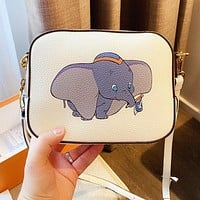 COACH Fashion Women Cute Dumbo Print Leather Shoulder Bag Crossbody Satchel