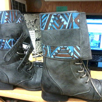 Hand-Painted Tribal Designed Combat Grey Boots