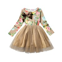 Kids clothing long sleeve print flower bow dresses for girls bohemian girls dress floral print birthday party dresses patchwork
