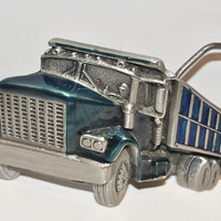 Vintage Dump Truck Belt Buckle The Great American Buckle Silver Pewter Blue and Green Trucker Construction Semi-Truck Serial No. 237