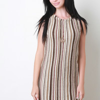 Retro Vertical Striped Knitted Dress