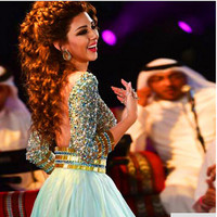 2017 Arabic Evening Dress Rhinestone Beaded Pageant Dresses for Women Mint Green Backless With 3/4 Sleeves Myriam Fares