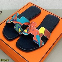 Hermes Summer Fashion Women Casual Slippers Sandals Shoes Black