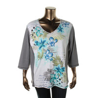 Karen Scott Womens Plus Knit Printed Casual Top