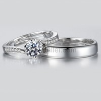 Customized Adjustable White Gold Plated Wedding Rings Set