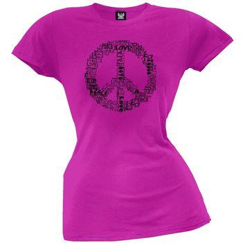 Love and Peace Sign Juniors T-Shirt