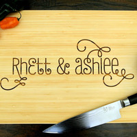 Personalized Cutting Board (Pictured in Natural), approx. 12 x 16 inches, Customizable Names - Wedding Gift, Anniversary Gift, Birthday Gift
