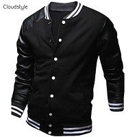 Cool College Baseball Jacket Men 2017 Fashion Design Pu Leather Sleeve Mens Overcoat Slim Fit Varsity Jacket Autumn Veste Homme