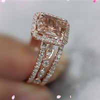 3 Ring Set 14k Rose Gold 6x8mm Pink Morganite Ring SI/H Diamonds Engagement Ring Wedding Band   Ring Handmade