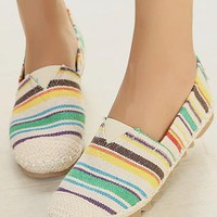 Leisure Colorful Strip Print Round Toe Loafers