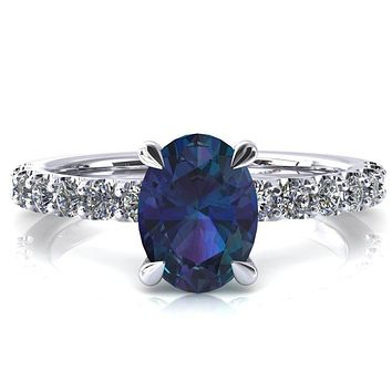 Alessi Oval Alexandrite 4 Claw Prong 3/4 Micro Pave Engagement Ring