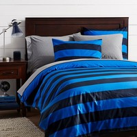 Rugby Stripe Duvet Cover + Sham, Navy/Strong Blue