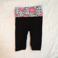 Adorable black white and pink floral baby yoga pants 3-6 and 9-12 months available