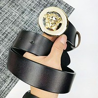 Versace New fashion human head buckle leather couple belt Black