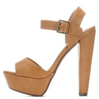 Natural Platform Chunky Heel Sandals by Charlotte Russe