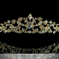 Nedda Art Deco Filigree Tiara | Gold | Swarovski Crystal