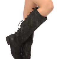 Black Faux Suede Knee High Distressed Boots