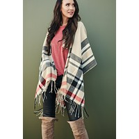 Pave The Way Plaid Poncho (Beige)