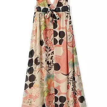 Floral V-Neck Chiffon Maxi Dress