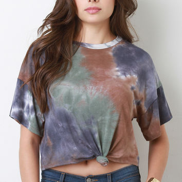 Tie Dye Knotted Crop Tee
