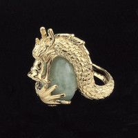 14K Goldplated Green Jade Dragon Ring - New Age, Spiritual Gifts, Yoga, Wicca, Gothic, Reiki, Celtic, Crystal, Tarot at Pyramid Collection