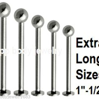 "1pc. EXTRA LONG 14GA-16GA~1/2"" to 1"" Steel Labret Cheek Piercing with 4mm Ball"