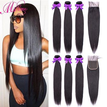 Human Hair Bundles With Closure Straight Brazilian Hair Weave 3 4 Bundles With 4X4 Lace Closure 28 30 Inch Bundles With Closure