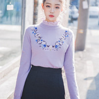 Chested Flower Line Knit