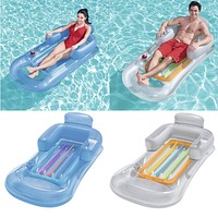Inflatable Floating Row 157x89cm Beach Swimming Air Mattress Pool Floats Floating Lounge Sleeping Bed for Water Sports Party (Random Color)