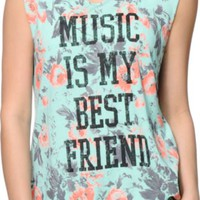 Starling Music Best Friend Mint Floral Print Muscle Tee