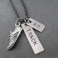 RUN TRACK and XC - Track and Cross Country Runner Necklace on Gunmetal chain - Track Necklace - Xc Necklace - Track and Xc Runner Jewelry