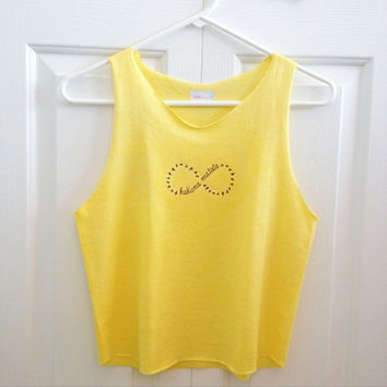 Hakuna Matata Infinity Crop Top Retro Yellow by LivingYoungDesigns