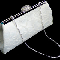 Ivory and Teal Bridal Clutch