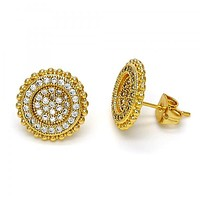 Gold Layered 02.213.0026 Stud Earring, with White Cubic Zirconia, Polished Finish, Golden Tone