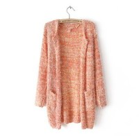 ZLYC Rainbow Drops Multi Colored Knitted Longline Cardigan in Mohair Mix