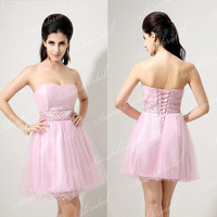 Pink Strapless Formal Prom Dress Homecoming Party Cocktail Dress Military Ball Gown {Free Shipping}
