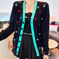 """Gucci""Women Fashion Mint Green V-Neck Small Print Pattern Long Sleeve Sweater Knit Cardigan Buttons Short Coat"