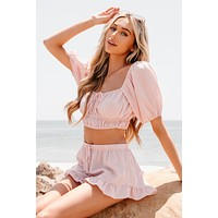 Candy Kisses Striped Two Piece Set (Pink)