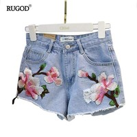 Hot Shorts RUGOD 2018 Newest Tassel Fringe Floral Embroidery Jean  Women Casual Summer Ripped Hole Denim  Femme Short JeansAT_43_3
