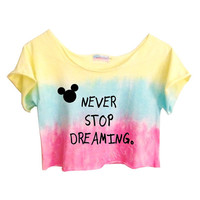 OMBRE PASTELS Unique Tie Dye Crop Top Retro Custom Shirt Never Stop Dreaming