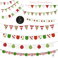 Nordic Christmas Bunting Clip Art Holiday Banner Printable Instant Download Small Commercial & Personal Use Scrapbooking Card making Craft